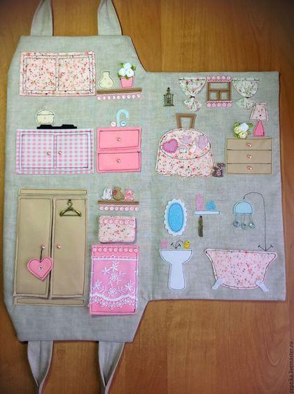 Кукольный дом ручной работы. Домик-сумка для куколки. Анна. Интернет-магазин Ярмарка Мастеров. Домик-сумка, текстильная игрушка
