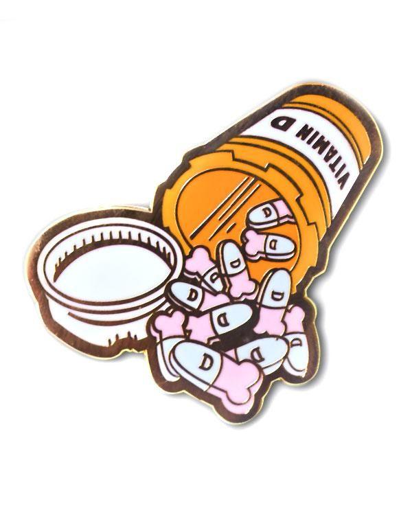 Vitamin D Pin in 2019 | Enamel Pins | Jacket pins, Pin