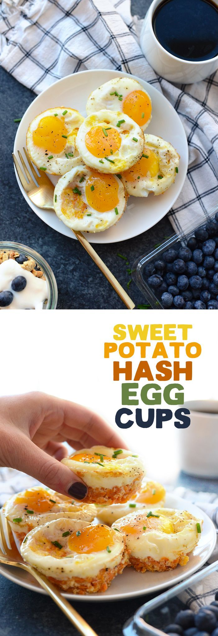 Sweet Potato Hash Egg Cups - we're taking baked eggs to the next level and adding a sweet potato/cheddar cheese base for the most delicious, satisfying savory breakfast you'll eat this year!