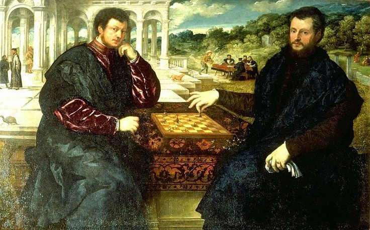 """Paris Bordone (1495-1570) was a Venetian painter of the Renaissance and was trained by Titian. In 1555 he painted """"Partita a Scacchi"""" (The Chess Players) which hangs in the Staatliche Museen in Berlin. The painting is also known as """"Two Chess Players."""" http://themaskedlady.blogspot.com.es/"""