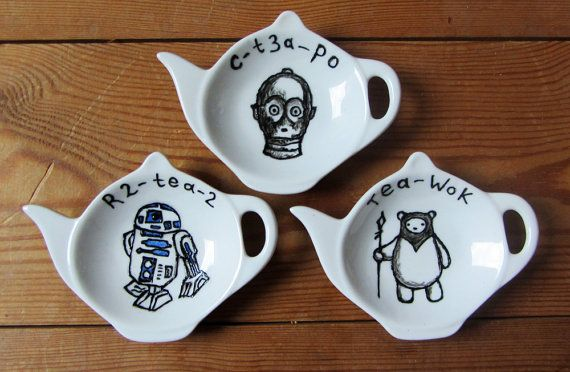 Set of 3 Star Wars tea bag tidy's - Set includes C3P0, R2D2 and an Ewok