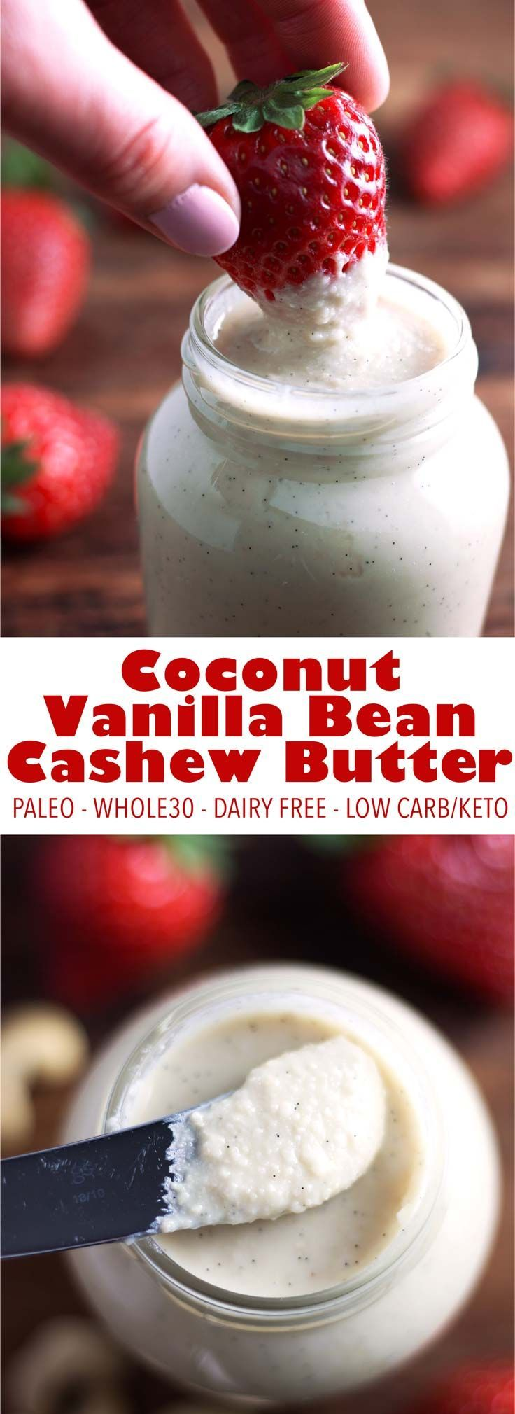 Best nut butter EVER. This easy coconut cashew butter recipe take just 12 mins and 5 ingredients. It's paleo, vegan, low carb, keto, and Whole30!