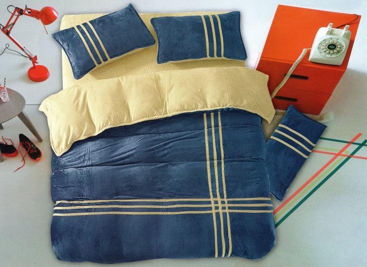 Modro béžové posteľné obliečky s pásikmi