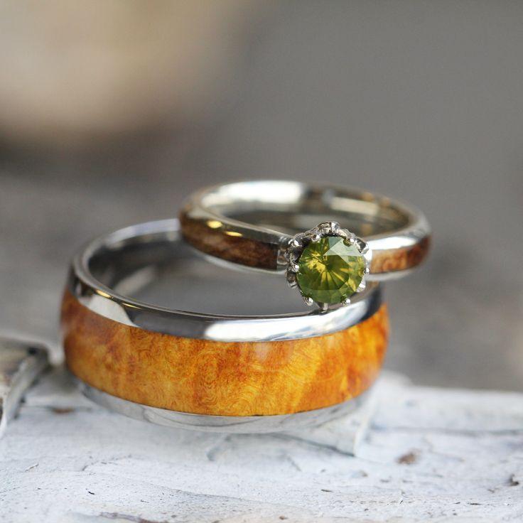 Wood Wedding Ring Set, Peridot Engagement Ring With Wood Ring