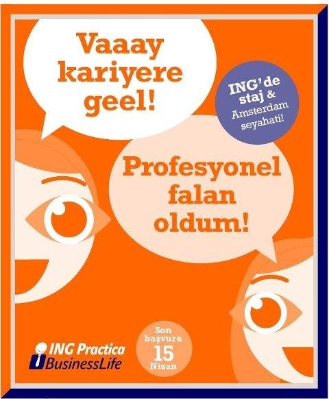 ING Practica'da yer almak için:    - 4 kişilik ekibini kur,  - Business Life simülasyonuna katıl,  - En başarılı ekipte yer alarak profesyonel hayata başlama imkanına kavuş.    Bir de sonunda Amsterdam seyahati var. Daha ne olsun?  http://on.fb.me/HqM6KN