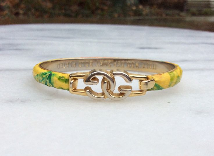 Vintage Gucci Bracelet Tie-dyed Citrus Lemon Orange Lime 24kp Italy by BrainWashington on Etsy https://www.etsy.com/listing/507044561/vintage-gucci-bracelet-tie-dyed-citrus