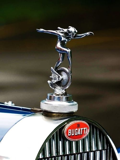 Bugatti Hood Emblem and Badge.   Gorgeous! On a par or even better than the Rolls Royce Spirit of Ecstasy.