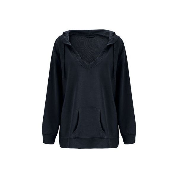 O-NEWE Women Sexy Loose Hooded V Neck Long Sleeve Pocket Sweatshirt ($23) ❤ liked on Polyvore featuring plus size women's fashion, plus size clothing, plus size tops, plus size hoodies, plus size sweatshirts, black, women plus size tops, collared sweatshirt, pocket sweatshirt and v neck sweatshirt