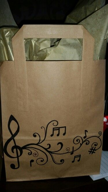 Music teacher gift bag - brown paper bag and a sharpie pen