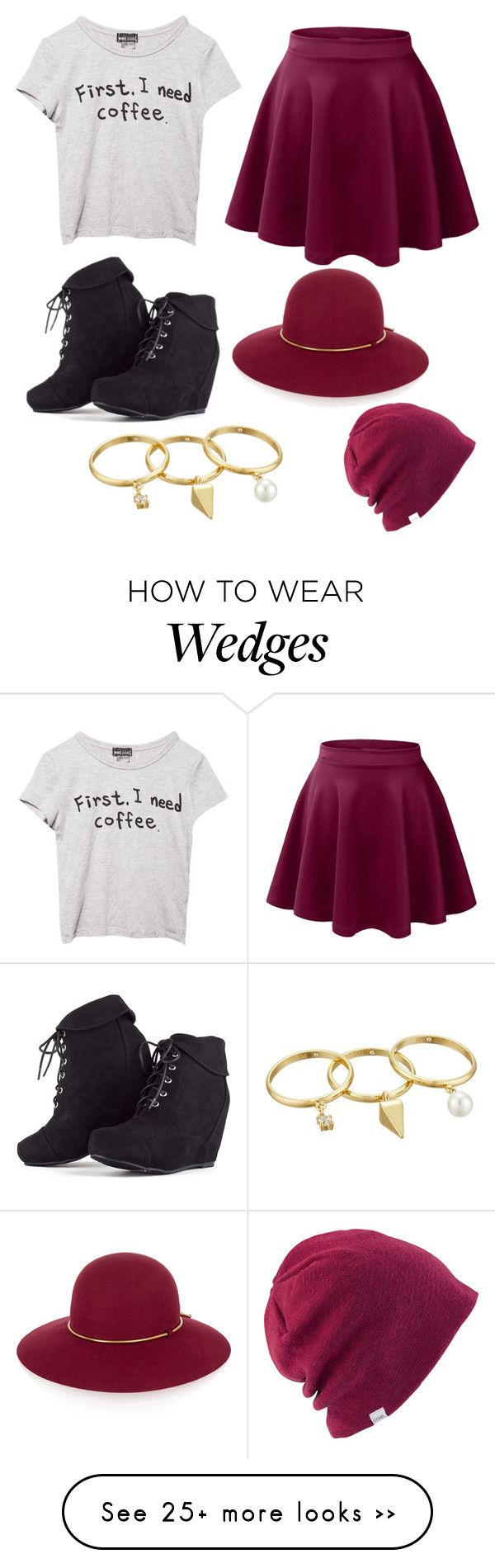 """First, I need coffee"" by gabrielle-dixon on Polyvore featuring Wet Seal, LE3NO…"