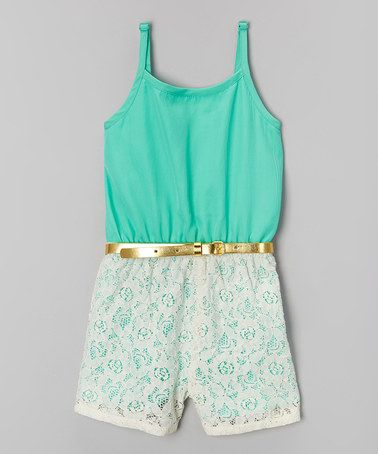 Another great find on #zulily! Mint Crochet Belted Romper - Girls #zulilyfinds