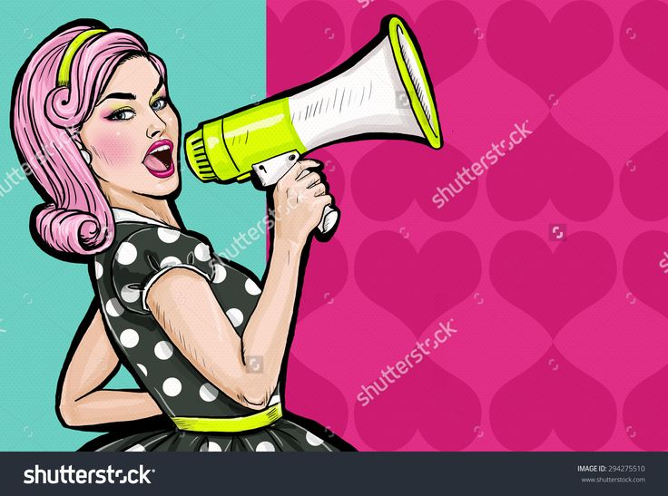 Pop art girl with megaphone. Woman with loudspeaker. Girl announcing discount or sale. Shopping time. Protest, meeting, feminism, woman rights, woman protest, girl power.