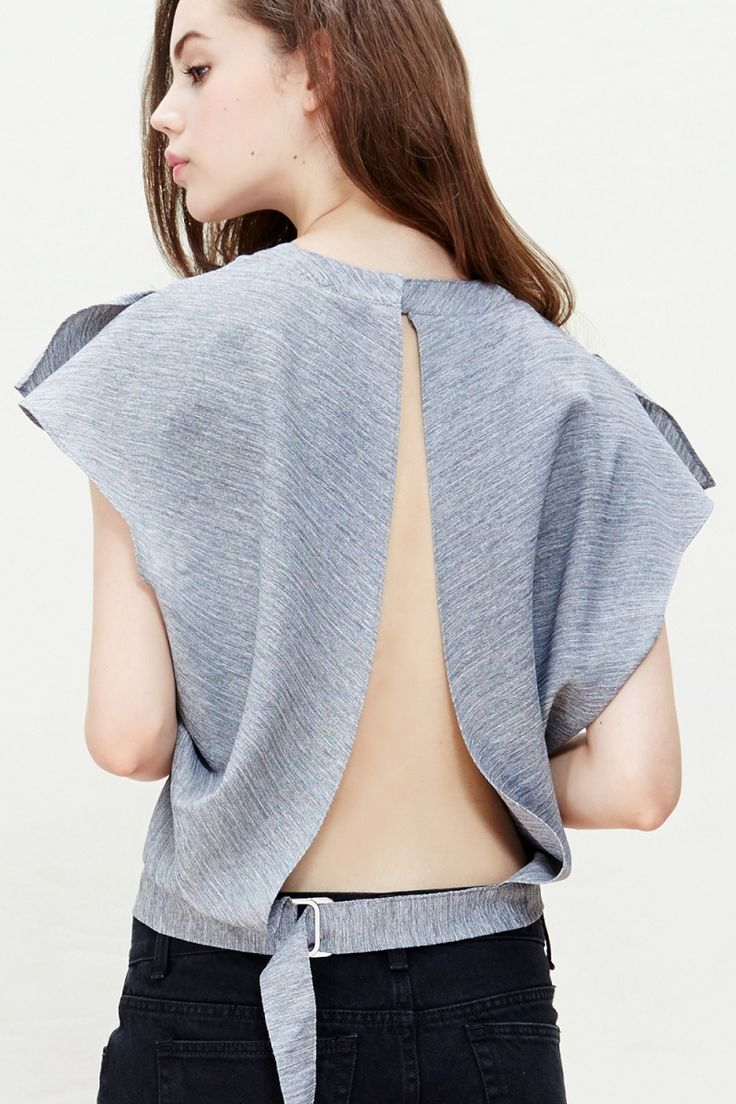 Backless Buckled Grey Blouse | @andwhatelse