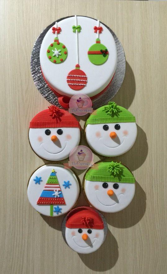 Mini tortas para navidad. Muñeco de nieve. Arbol de navidad. Esferas de navidad