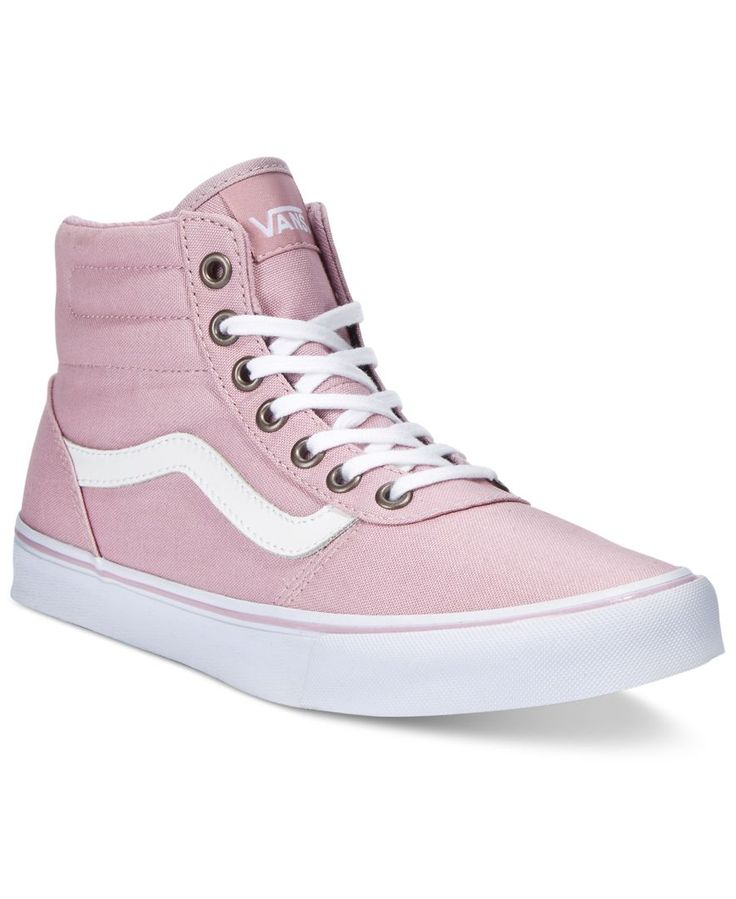 Your street-chic look soars with racing stripe style in these Milton high-top sneakers from Vans. | Fabric upper; manmade sole | Imported | Round closed-toe lace-up high-top sneakers | Web ID:2831142
