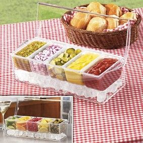 Service bar on ice... great for picnics, barbecues, camping, or anything where you might need to keep condiments/little appetizers cold.  Great idea! [$19.95]