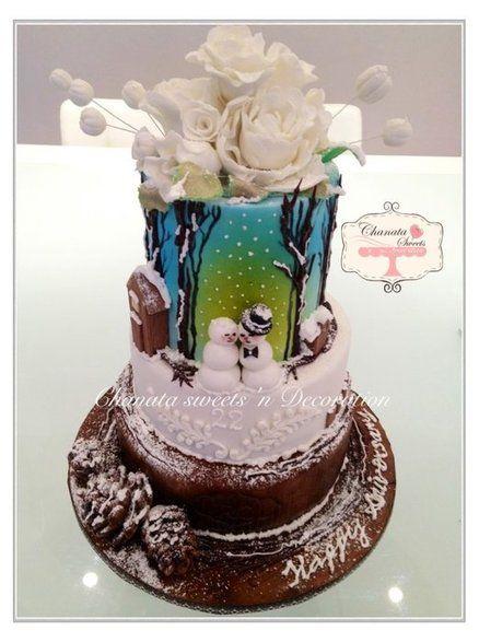 Winter winter here we come, winter wedding anniversary  theme cake