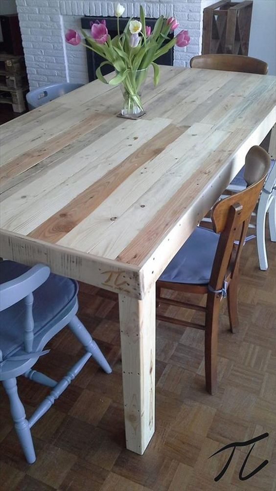 17 best ideas about pallet dining tables on pinterest for How to make a pallet kitchen table