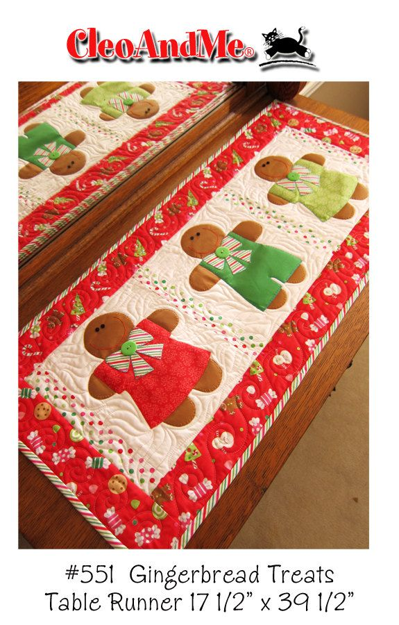 Pan de jengibre golosinas Table Runner patrón por cleoandmepatterns