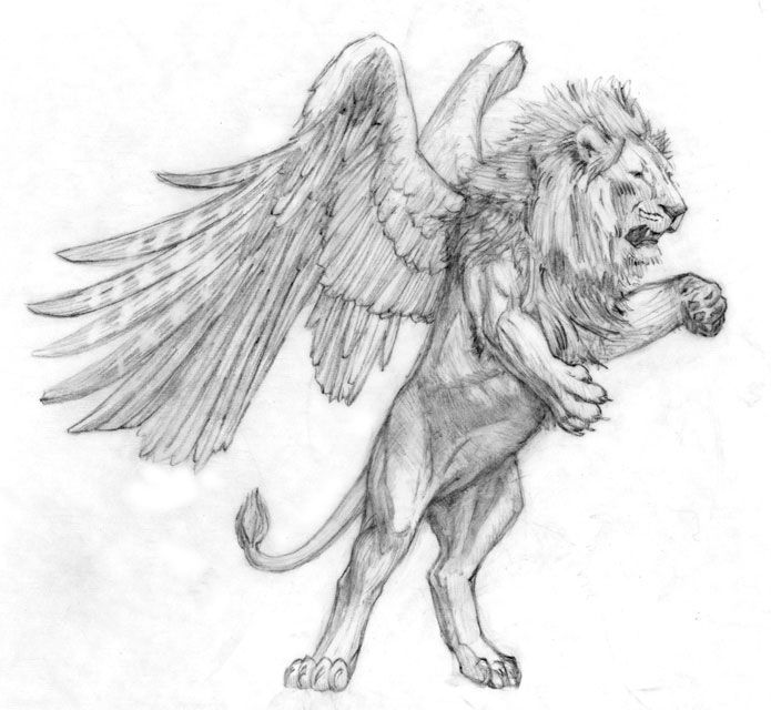 Shedu in Sumerian, Akkadian, Persian, and Iranian tribal mythology was depicted as a winged lion. He has often been depicted with a bull body instead of a lion body.