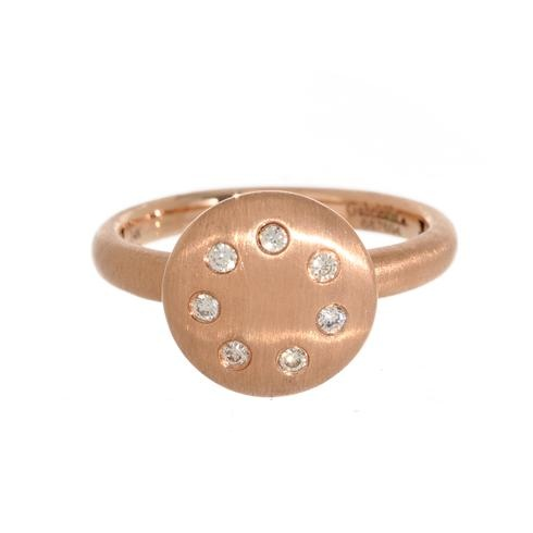 This organically crafted rose gold circle ring is dotted with an array of diamonds.  Perfect for stacking or wearing alone, the rose gold color beautifully complements all other metals.  Gabriel and Co. at Greenwich Jewelers  $700: Crafts Rose, Gold Color, En Rose, Color Beautiful, Rose Gold