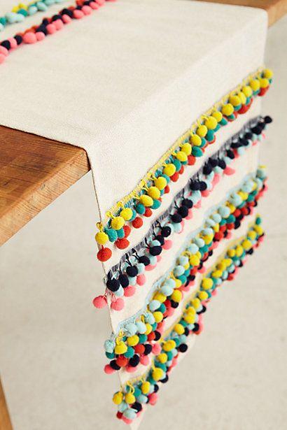 TABLE RUNNER | Anthropologie pom pom table runner