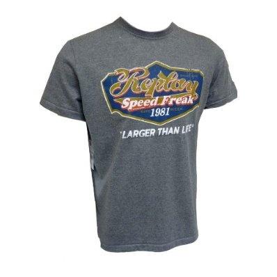 Replay Mens T Shirt Designer Top Speed Freak Grey £19.95