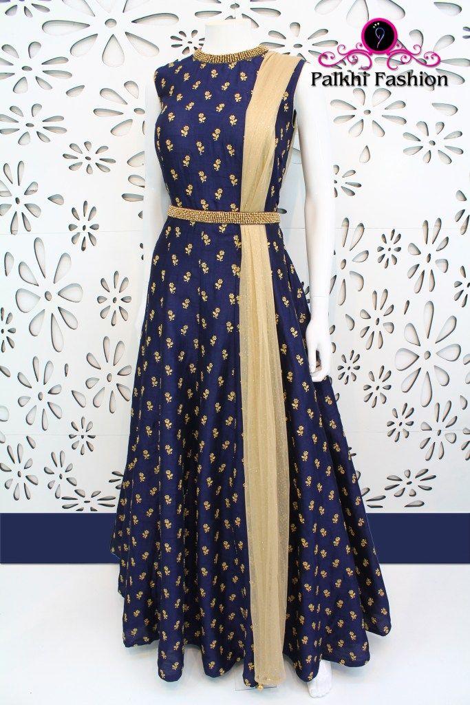 PalkhiFashion Exclusive Deep Blue Silk Outfit featuring Zari Motifs