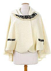 Caty Lesca Ponchos Femme de couleur beige en soldes pas cher 678348-beige0 - Modz