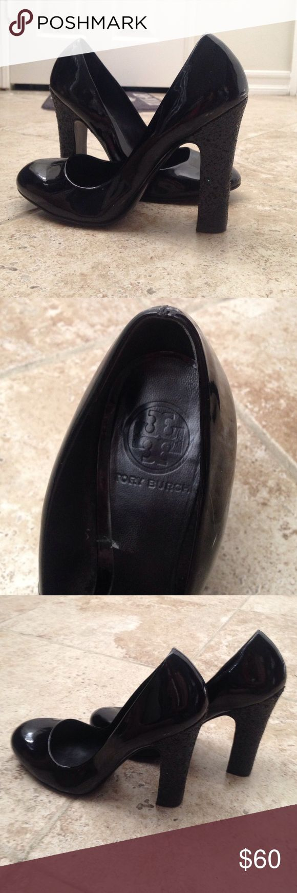 Tory Burch Colin Black Patent Leather Heels Size 8 1/2 M. They do have a couple like scuff marks on them, but nothing noticeable unless you look up close. Still in very good condition. Tory Burch Shoes Heels