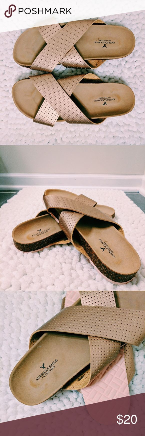 AEO Rose Gold Slides Brand new American Eagle Outfitters rose gold slip-on sandal. Worn literally once, VERY comfortable cushiony sole. My long toes hang over the edge unfortunately... Beautiful show up for grabs! Prices negotiable : ) American Eagle Outfitters Shoes Sandals