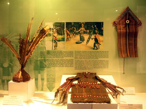 War accessories of the Dayak Tribe, Kalimantan, Indonesia.Photo taken in the National Museum, Jakarta, Indonesia.
