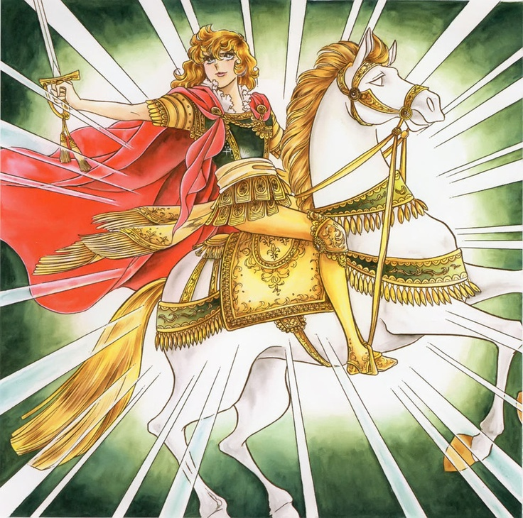 Lady Oscar on a horse Rose of Versailles Picture