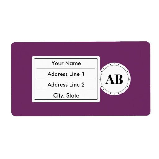 Byzantium purple solid color with monogram personalized shipping labels