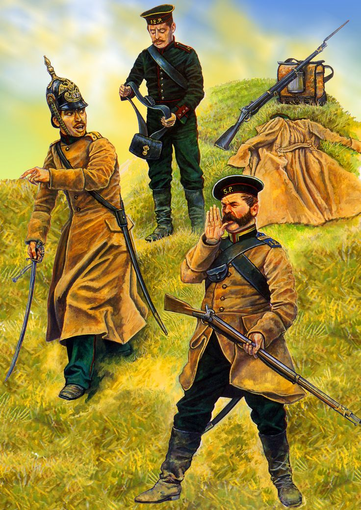 Russian officers of Kazanski Jagers and Tarutinski Jager, Crimean War
