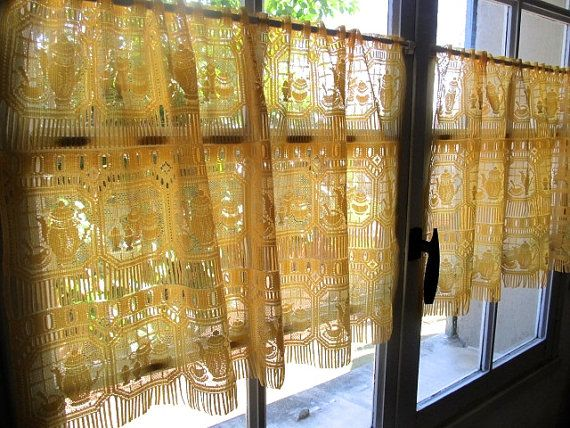 Yellow Cafe Curtains Coffee Jug Lace Curtains by HatchedinFrance, $49.00