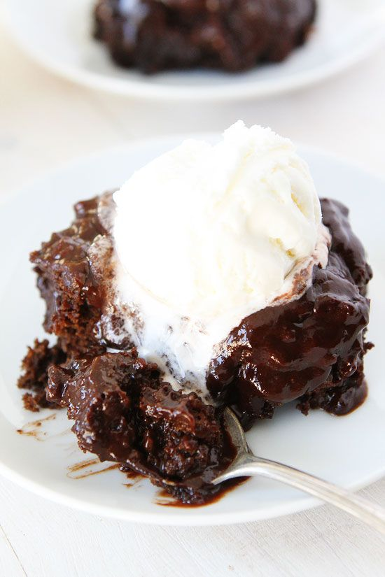 Chocolate Pudding Cake-a rich and moist chocolate cake with a silky chocolate pudding sauce....