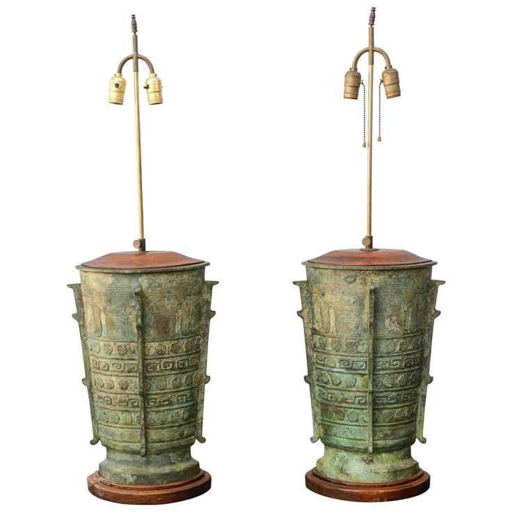 Oversized Verdigris Bronze Asian Table Lamps | From a unique collection of antique and modern table lamps at https://www.1stdibs.com/furniture/lighting/table-lamps/