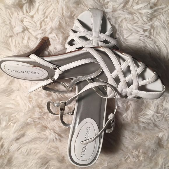 White birdcage sandals with heel Beautiful but yet simple white birdcage sandals. They do have a heel. Purchased at Maurice's. Ships in box. They have been worn a few times but still have A LOT of life left. In great condition. Maurices Shoes Heels