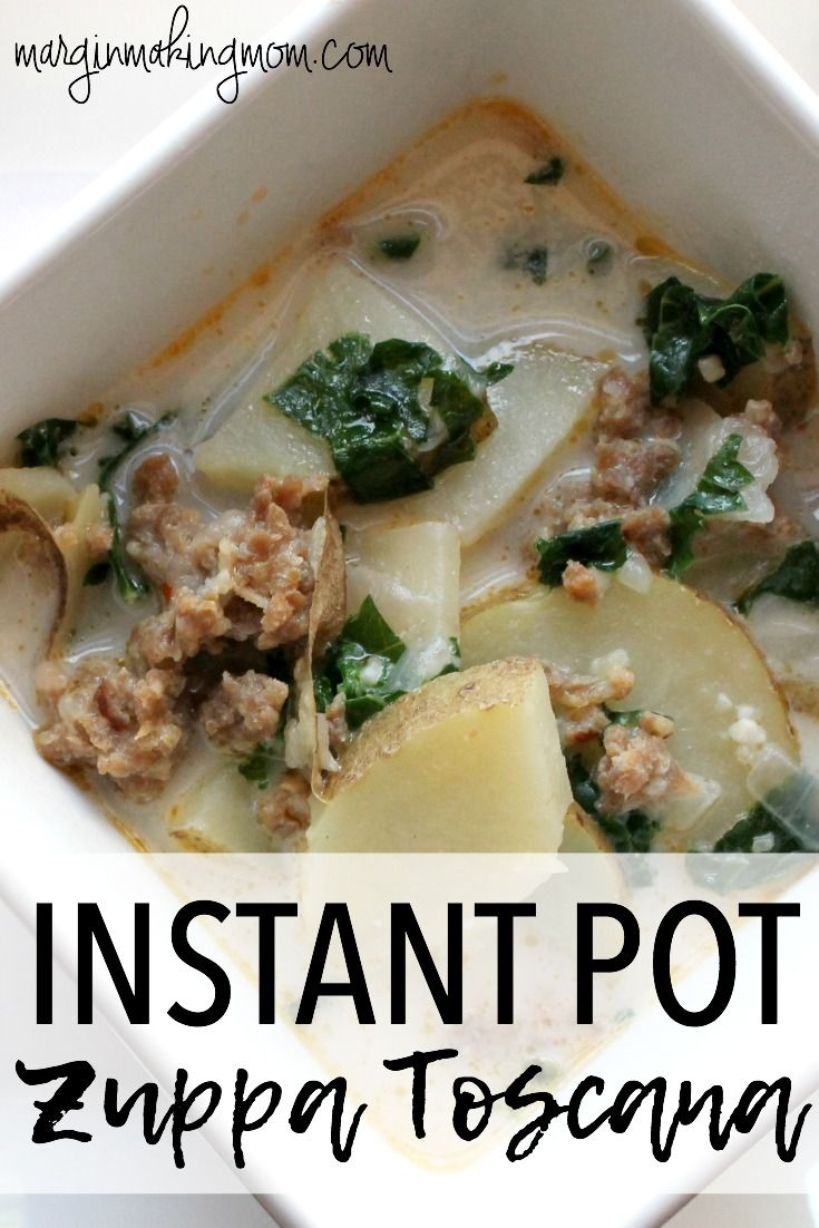 This delicious Zuppa Toscana soup is made in the Instant Pot pressure cooker, making it a quick and easy recipe that tastes much like Olive Garden's version! Instant Pot Recipes | Pressure Cooker Recipes | Zuppa Toscana Recipes