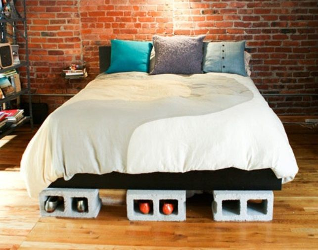 A new interior style 'Construction Chic' . Breeze block bed base with shoe storage from tipjunkie.com