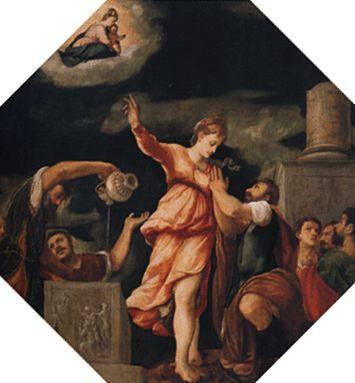 La sibylle de Tibur annonce à Auguste la naissance du Christ - Boniface Véronèse