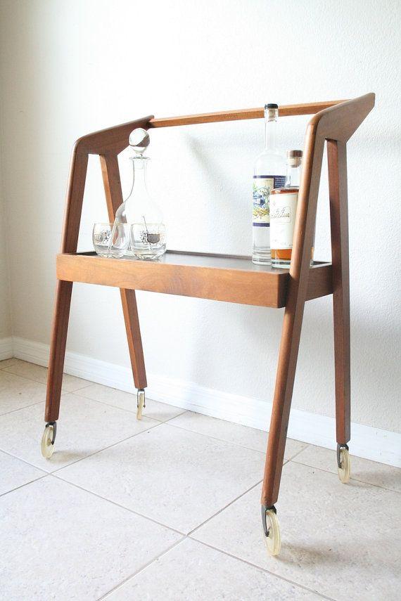 mid century modern bar cart danish modern media cart. Black Bedroom Furniture Sets. Home Design Ideas