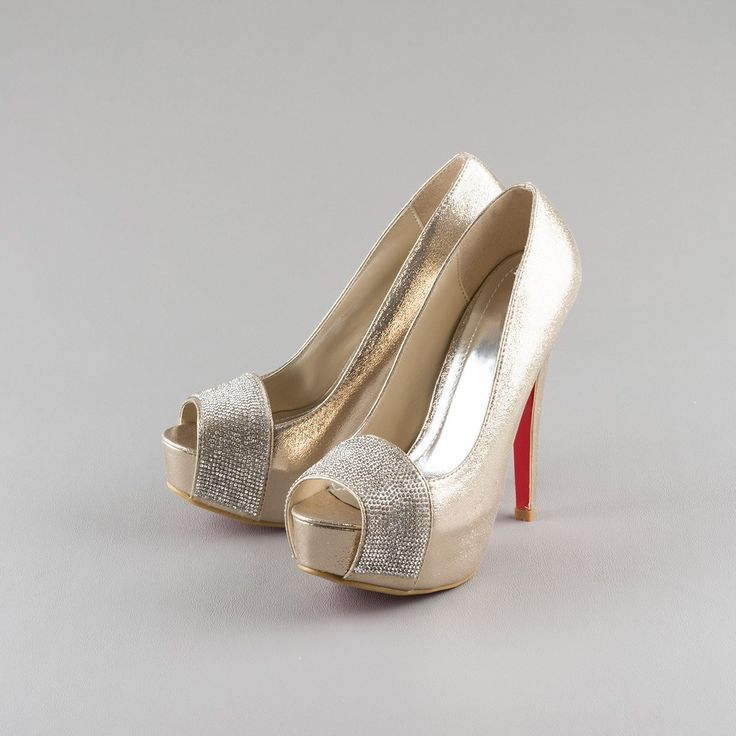 Pantofi de ocazie aurii cu platforma si toc inalt