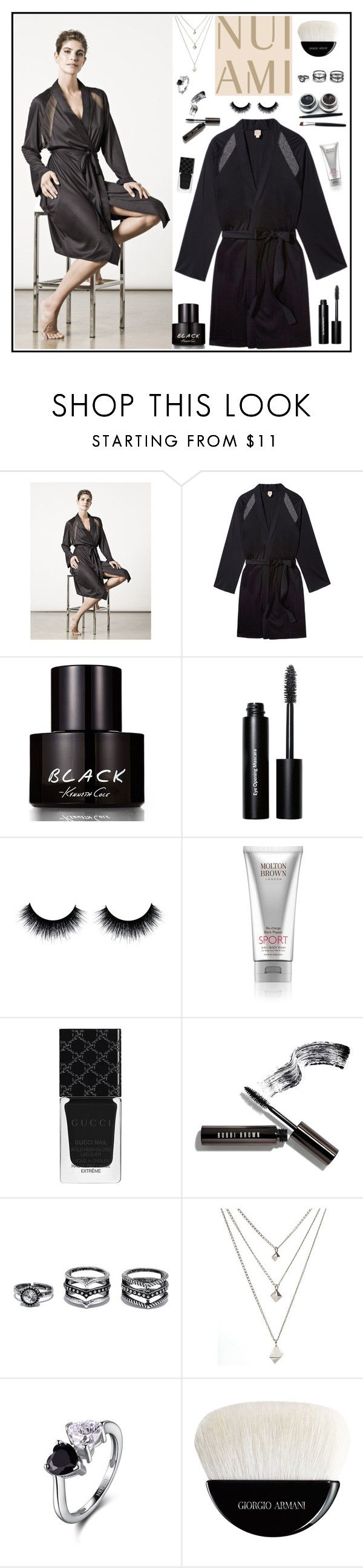 """""""Nui Ami 10"""" by gaby-mil ❤ liked on Polyvore featuring Kenneth Cole, Bobbi Brown Cosmetics, Molton Brown, Gucci, Lulu*s, Giorgio Armani, robe and nuiami"""
