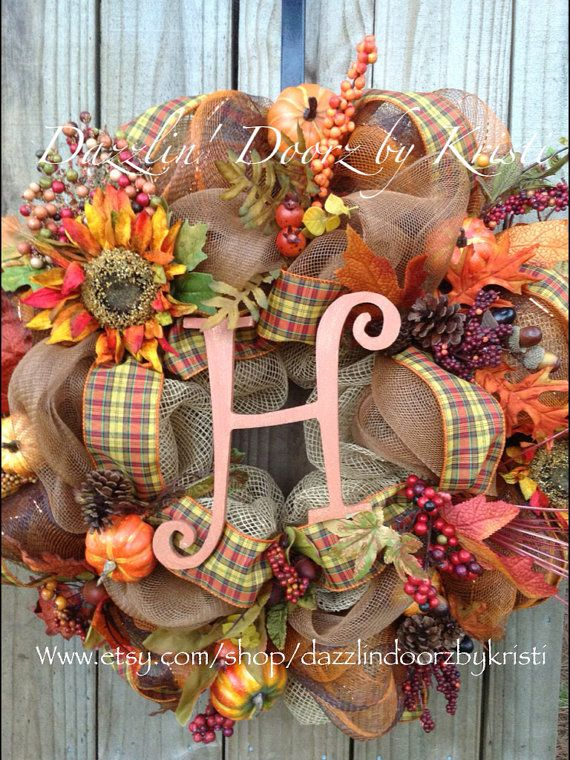 Burlap Fall initial Wreath