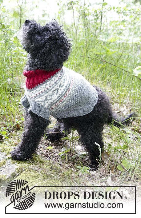 Narvik Woof - Dog's knitted jumper with multi-coloured Nordic pattern. Sizes XS - M. The piece is worked in DROPS Merino Extra Fine. Free knitted pattern DROPS 185-34