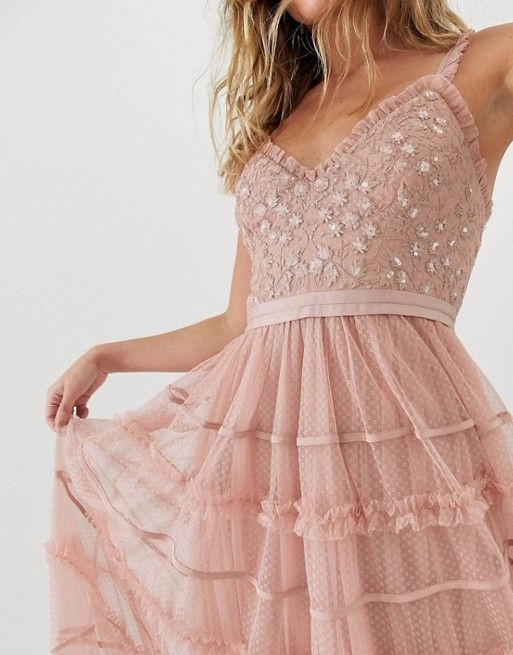 f4a51af1dc Needle & Thread | Needle & Thread cami strap embroidered maxi dress in rose  pink