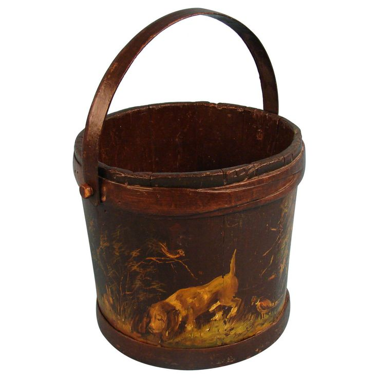 English Victorian Decorated Bucket with Dog Theme | From a unique collection of antique and modern decorative objects at https://www.1stdibs.com/furniture/more-furniture-collectibles/decorative-objects/