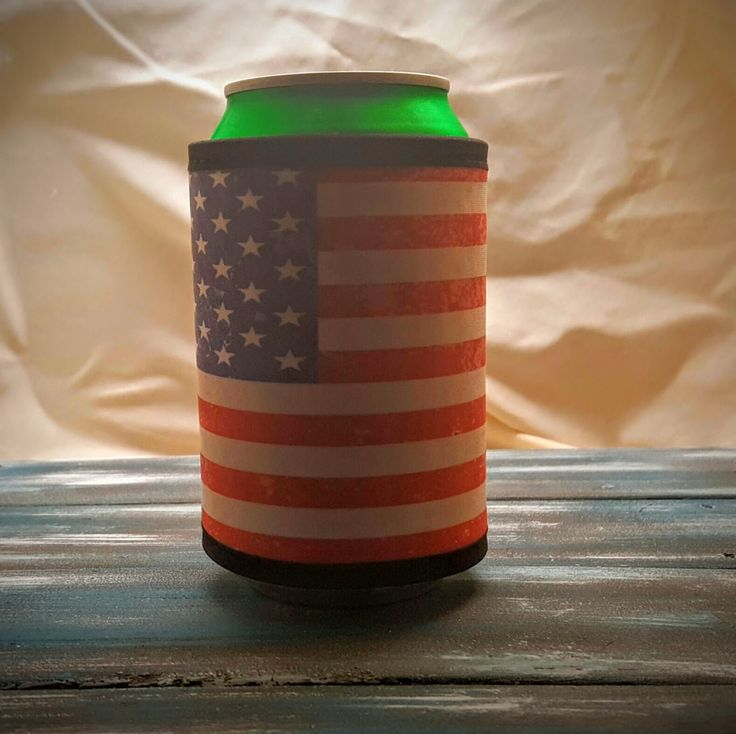 Patriotic Drink Cooler, Can Hugger, Color Cooler, Red, White and Blue Cooler, Velcro Can Cooler To Keep Your Drinks Cold!